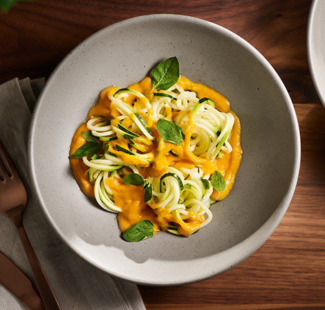 Roasted Carrot and Tomato Sauce on zucchini pasta noodles