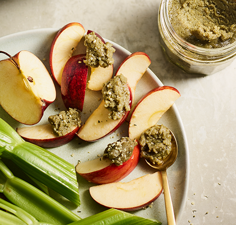 Creamy Sunflower, Pumpkin and Hemp Seed Butter on slices of apples
